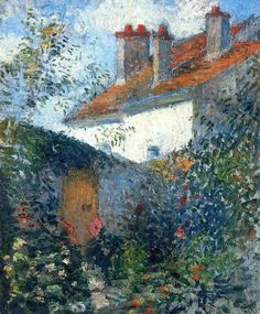 カミーユ・ピサロ Study at Pontoise Camille Pissarro Private collection Painting - oil on canvas Paul Cezanne, Claude Monet, Camille Pissarro Paintings, Mary Cassatt, Impressionist Artists, Pics Art, Renoir, Art Graphique, Love Art