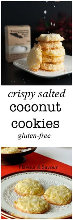These gluten-free Crispy Salted Coconut Cookies are topped with a light dusting of sea salt. They're the first ones to disappear from the cookie tray! Make ahead and freeze for unexpected company. Gluten Free Drinks, Gluten Free Sweets, Gluten Free Cookies, Gluten Free Baking, Gluten Free Recipes, Gf Recipes, Celiac Recipes, Paleo Baking, Keto Cookies