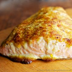 Oven Roasted Parmesan-Mayo Crusted Salmon -- This was delicious! And fast and easy. I didn't make my own mayo and used some white fish my husband caught -- either cod or sea bass. It was amazing. Fish Dishes, Seafood Dishes, Seafood Recipes, Cooking Recipes, Healthy Recipes, Dinner Recipes, Keto Recipes, Main Dishes, Seafood Meals