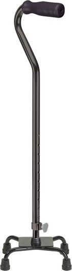 The Small Base Quad Cane with Foam Rubber Hand Grip offers comfort and stability for the active cane user.