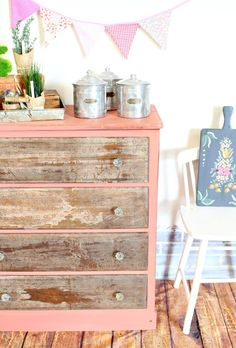 How to decoupage napkins to dresser drawers for an aged and floral look