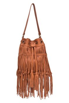 ANGEL FEATHER. Fringe leather bag / fringe purse / tan by BaliELF