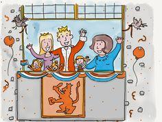De koninklijke familie op het bordes
