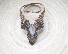 Onyx macrame necklace gemstone necklace micro от PieceOfGraceArt