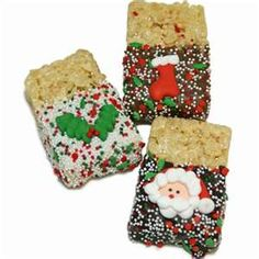 Rice Krispies Christmas Treats- dunked in chocolate, rolled in non perils and decoratedwith candies Christmas Dishes, Christmas Sweets, Christmas Goodies, Christmas Candy, Christmas Baking, Christmas Holidays, Christmas Ideas, Christmas Sprinkles, Christmas Recipes