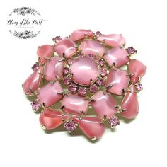 RESERVED FOR MARILYN W. ~ 1960s 2-Tone Pink Moonglow & Rhinestone Brooch
