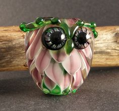 Handmade Lampwork Glass Owl Bead - Purple & Green Lotus by PeggySudzLampwork on Etsy Glass Jewelry, Beaded Jewelry, Glass Beads, Owl Art, How To Make Beads, Bead Art, Lampwork Beads, Fused Glass, Making Ideas