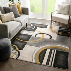 Well Woven Rosa Gold/Gray Rug   Wayfair Black And Grey Rugs, Black And Brown, Dots And Boxes, Box Patterns, Geometric Patterns, 3d Texture, Beige Area Rugs, Rug Size, Abstract