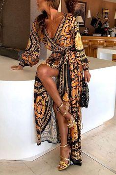 18d38dc030 Early Autumn Long Sleeve V-Neck Print Maxi Dress