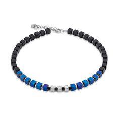 Geo Cube Collier black-blue metallic