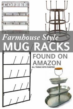I'm always on the lookout for good deals on mug racks and tiered trays to get the farmhouse inspired look as seen on Fixer Upper!! Here are a few of the good ones I've run across on Amazon. This post contains affiliate links for your convenience. Wall mounted rack(pictured) Pallet wood coffee rack(pictured) 3 tiered mug rack(pictured) 6 tiered mug rack(not pictured) 3 tiered tray(pictured) Galvanized Stand(not pictured) 3 tiered