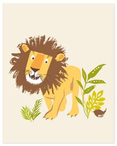 Lion wall art safari zoo nursery wall decor от SeaUrchinStudio