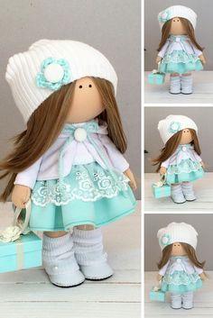Textile doll handmade Tilda doll Interior doll Art doll green brown pink colors Soft doll Cloth doll Fabric doll by Master Maria Lazareva