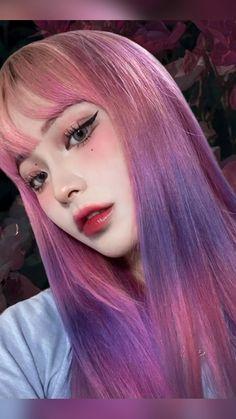 Asian Eye Makeup, Korean Makeup, Grunge Outfits, Pastel Goth Makeup, Hair Dyed Underneath, Style Ulzzang, Straight Eyebrows, Looks Kawaii, Hair Color Streaks