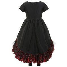 Junior Gaultier - Black Satin Tartan Dress with Leggings | Childrensalon