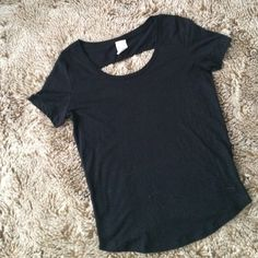 PINK Victoria's Secret black open back tee Worn once is this black Victoria's Secret open back tee. In perfect condition. No flaws. Runs a little big PINK Victoria's Secret Tops