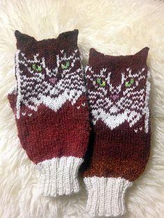 Double Cat mitten pattern by Natalia Moreva