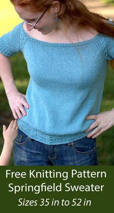 """Free knitting pattern Short sleeved pullover sweater featuring off-the shoulder neckline, cinched in cable-smocked waist, and cables cascading down the raglan shaping. Sizes 35 ¼"""", (38, 42, 44 ¾, 48 ½, 52). DK weight yarn. Designed by Vanessa Ewing Sweater Knitting Patterns, Free Knitting, Dk Weight Yarn, Off Shoulder Tops, Patterned Shorts, Pullover Sweaters, Vests, Cable, Wraps"""