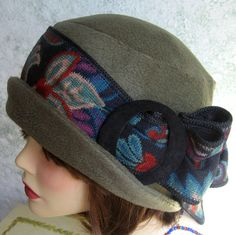Vintage 1930s Style Brimmed Flapper Hat Pattern With Upcycled Trim  Very easy to make with only 3 Pattern pieces. This listing is a pattern to make the hat pictured and is an instant download  Given in two head sizes - medium 21- 22 1/2 or large 23- 23 1/2  Make this great hat without all usual drudge of hat construction. If you can sew a straight seam and read insturctions you can make this hat!! The pattern pieces are fulled sized- no need for graphing. After you download, some of...