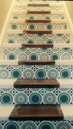 Stairs in Mini Moderns Darjeeling lido wallpaper - I think you should redo your stairs like this!!!!