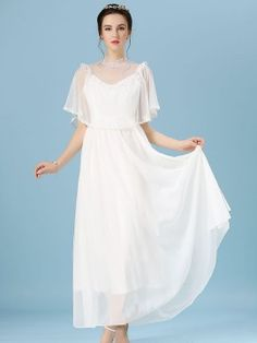 Shop White Mesh Lace Detail Cape Back Dress from choies.com .Free shipping Worldwide.$31.99