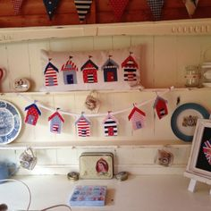 Cushion and beachhut bunting made by me