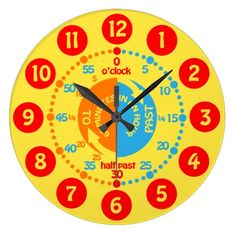 Kids learn to tell time yellow red blue wall clock by www.sarahtrett.com