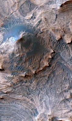 "Long ago, in the largest canyon system in our solar system, vibrations from ""marsquakes"" shook soft sediments that had accumulated in Martian lakes. The shaken sediments formed features that now appear as a series of low hills apparent in a geological map based on new NASA images. Enhanced color image of the Candor Colles region of Candor Chasma, Mars. Image is 1 km (0.62 miles) across. (USGS Astrogeology Science Center, Flagstaff, Arizona)"