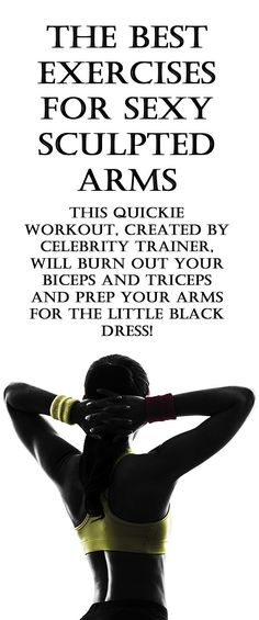 The best exercises for SEXY, SCULPTED ARMS. This quickie workout, created by celebrity trainer Astrid McGuire, will burn out your biceps and triceps and prep your arms for the little black dress. #armworkout #shoulderworkout #sexyarms