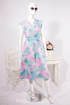 Vintage LONG Midi DAY DRESS Abstract PRINT Floral 1980s Size UK 10 12 Eu 40