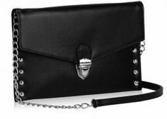 A slim and stylish black flap over clutch handbag with stud detail and silver tone clasp fastening.  It is made of a stain resistant type material meaning you can worry less about any spills and marks as these should simply wipe away.  Detachable long strap with chunky silver chain.  Black satin lining, 2 compartments and 3 inner pockets (1 zipped).  Size (cm): 26 wide x 17 high x 1 deep Black Clutch Bags, Black Satin, Evening Bags, Studs, Silver, Material Meaning, Clutches, Slim, Luxury