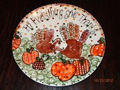 hand and foot print turkeys | Thanksgiving hand print plate. Turkeys | THANKSgiving