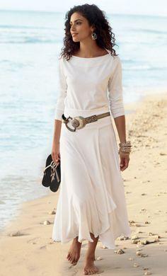 the perfect boatneck, st. kitts skirt, taj hoops, buenos aires belt, gypsy bangle set, stardust sandal . soft surroundings