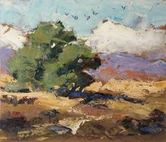CALIFORNIA IMPRESSIONIST LANDSCAPE, 14x12 INCH OIL PAINTING by TOM BROWN, painting by artist Tom Brown
