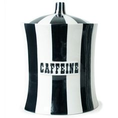 Caffeine Pottery Canister in Black & White.