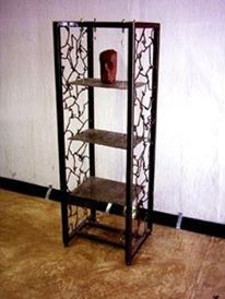 Suspended shelving unit made using scrap rusted steel and coins welded together to form the shelves.