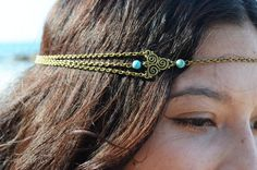 Chain Headpiece Boho Head Jewelry Bohemian Headband Headdress Gypsy Jewelry Chic Bohemian  Hair Jewelry Mara Twirl