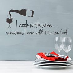 'i cook with wine' wall sticker quote by snuggledust studios | notonthehighstreet.com