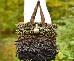 Textured wool felted bag tote with felted acorn by amberstudios on Etsy...
