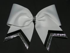 silver white black cheer bow - Google Search