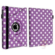 Everydaysource Compatible with Apple® iPad® Mini Purple/ White Polka Dot 360-degree Swivel Leather Pouch Case,$10.64