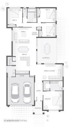 Single Storey Home Design House Plans 3 Bedroom, Dream House Plans, House Floor Plans, Narrow House Designs, Narrow Lot House Plans, House Construction Plan, Long House, Home Design Floor Plans, Two Storey House