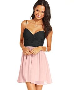 Homecoming- Hailey Logan by Adrianna Papell Juniors' Colorblock A-Line Dress