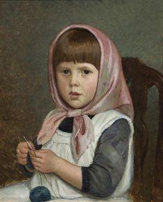 Adolf von Becker (Finnish, 1831-1909) - Knitting Girl - collezione privata