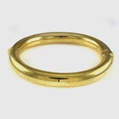 "Bellezza ""I Miei"" High-Polished Yellow Bronze Hinged 7-1/2"" Bangle Bracelet #Bellezza #Bangle"