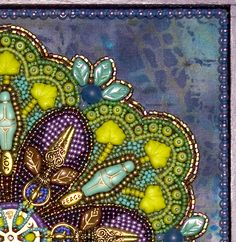 This is Lisa Binkley's work.  Check out her wonderful hand beadwork!  Oh my!!!!  Cross-Pollination (detail 1)