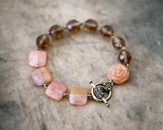 Peach Cobbler Beaded Toggle Bracelet by lillyella on Etsy