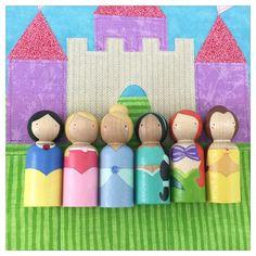 SALE//Ready to Ship //Princess Peg Dolls and Castle by PegHeads