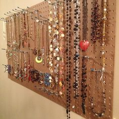 """DIY jewelry holder.... No more excuses for not wearing your jewelry because you """"forgot you had it!"""" This is in my walk-in closet. One trip to Lowes is all you need!"""