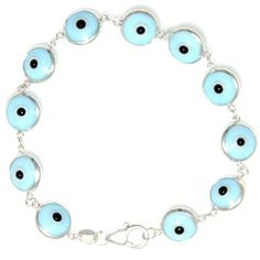 Amazon.com: Sterling Silver Evil Eye Bracelet, Sky Blue 7 inch: Jewelry